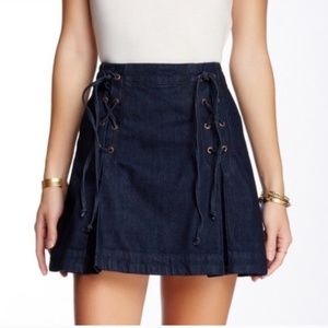 Free People Pleated Dark Lace Up Mini Skirt Size 8